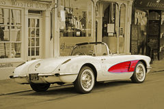 Vintage classic chevrolet corvette sepia Royalty Free Stock Images