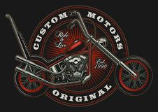 Vintage classic chopper illustration. Illustration with american motorcycle on dark background in circle. All elements is on the separate layer Royalty Free Stock Photography