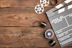 Vintage classic clapperboard. Video production background movie clapboard clapperboard royalty free stock photo