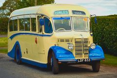 Vintage Classic 1950 Duple OB Bus 27 Seater `ToastRack`. Vintage Classic 1950 Duple OB Bus 27 Seater `Toast Rack This graceful 'lass' - A charabanc royalty free stock image