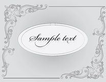 Vintage Classic Invitation card with silver ornaments Royalty Free Stock Images