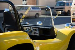 Yellow old collectible car close up outdoor Stock Photography