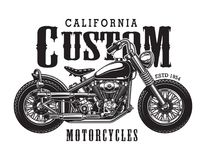 Vintage classic motorcycle logotype concept. With chopper and inscriptions isolated vector illustration stock illustration