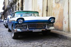Vintage classic oldtimer car in old town of Havana royalty free stock photos