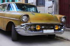 Vintage classic oldtimer car in old town of Havana royalty free stock photography
