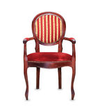 Vintage classic red armchair isolated over white Stock Photography