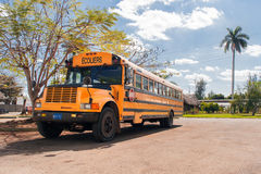 Vintage classic school bus. Varadero, Cuba. Royalty Free Stock Images