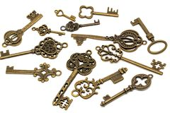 Vintage Keys Isolated On White Background royalty free stock image