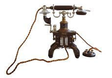 Vintage and classic telephone isolate on white. Stock Images