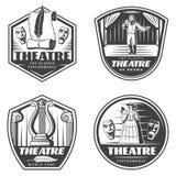 Vintage Classic Theatre Emblems Set Stock Photo
