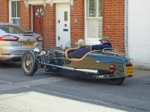 Vintage classic two seater morgan kit car vehicle. Photo of a classic vintage two seater morgan kit car parked in a kent street during classic car festival of royalty free stock photo