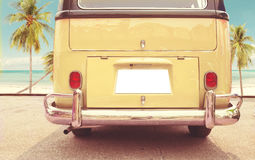 Vintage classic van parked side beach in summer Royalty Free Stock Images