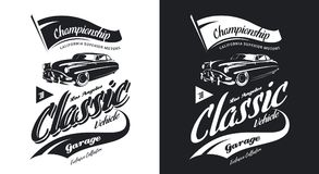 Vintage classic vehicle black and white isolated vector logo. 