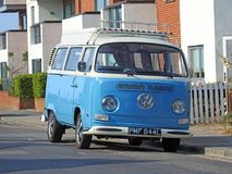 Vintage classic volkswagen camper van tourer. Photo of a vintage classic volkswagen camper van parked in a kent street by kerb taken 1 july 2018 stock image