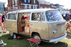 Vintage classic vw camper van. Photo of a vintage vw camper van at tankerton slopes whitstable kent. photo taken 2nd august 2015 ideal for sports cars,car shows stock images