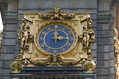 Vintage classical antique sculptured clock of a tower Royalty Free Stock Images