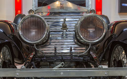 Vintage Classical Rolls-Royce. Detail front view from a vintage classical black Rolls-Royce  automobile exhibited in the private enterprise KEY Museum, located Stock Images
