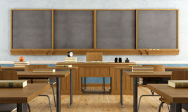 Vintage classroom without student. With wooden furniture and big blackboard - rendering Royalty Free Stock Image