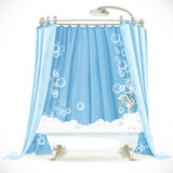 Vintage claw-foot bathtub with a curtain Royalty Free Stock Images