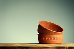 Vintage clay bowl for spice and food cooking Royalty Free Stock Images