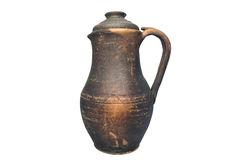 Vintage clay jug with lid Stock Photos