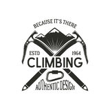 Vintage climbing badge. Climbing logo, vintage emblem. Climb gear - carabiner and text. Retro t shirt design. Old style. Illustration. Climbing insignia Stock Photography