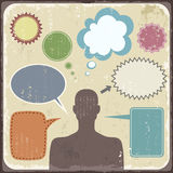 Vintage Clipart of man with speech bubbles. Vector vector illustration