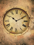 Vintage Clock. With roman numerals in a grungy style Royalty Free Stock Photography