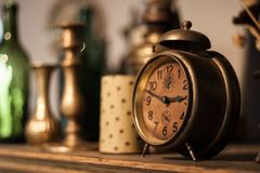 Vintage clock. In an old store, shallow dof Royalty Free Stock Photos