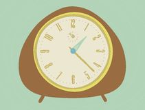 Vintage clock. Hand drawn clock, 50's style Royalty Free Stock Image