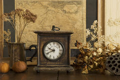 Vintage clock. In retro interior Stock Photo