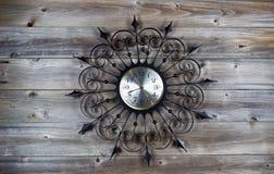 Vintage Clock on Aged Wood Stock Images