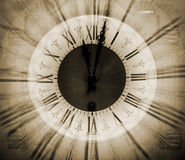 Vintage clock blurred in. Old vintage clock blurred in Royalty Free Stock Photos