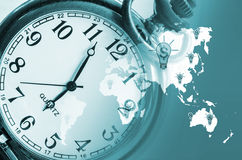 Vintage clock on business world background. Royalty Free Stock Photos