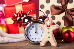 Vintage clock on christmas background Royalty Free Stock Photo