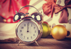 Vintage clock on christmas background Stock Photography