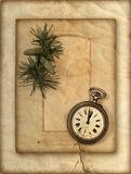 Vintage clock and christmas tree brunch Royalty Free Stock Photos