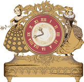 Vintage clock. Composition of vintage clock with dalls Stock Photography