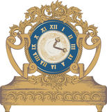 Vintage clock. Composition of vintage clock with decorative leaves Royalty Free Stock Images