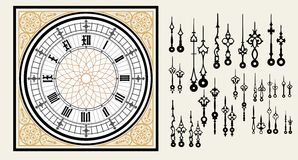 Vintage Clock dial with set hands in the Victorian style. Vector editable template.  Stock Images