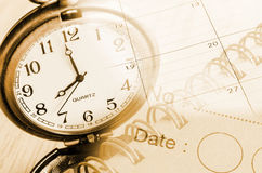 Vintage clock, diary page and calentar. Time management concept Royalty Free Stock Image