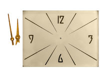 Vintage clock face arrows isolated with clipping path Royalty Free Stock Photo