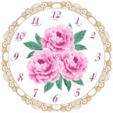 Vintage clock face with peonies Stock Image