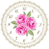 Vintage clock face with peonies Royalty Free Stock Photo