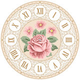 Vintage clock face with roses Stock Images