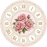 Vintage clock face with roses Royalty Free Stock Images