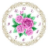 Vintage clock face with roses Stock Image