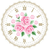 Vintage clock face with roses Stock Photo
