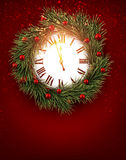 Vintage clock with fir branches. Royalty Free Stock Photos