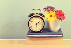 Vintage Clock and flower on book Royalty Free Stock Images